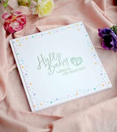 """Gästebuch """"Hallo Baby"""" - Punkte Pastell"""