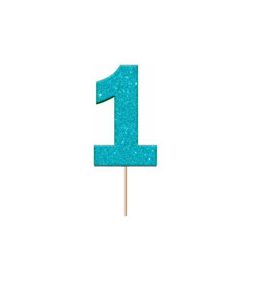 """Cupcake-Topper Zahl """"1"""" - glitter blau - 12 Stück"""