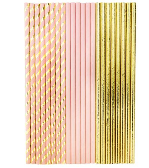 Papierstrohhalme-Mix - rosa & gold - 22 Stück