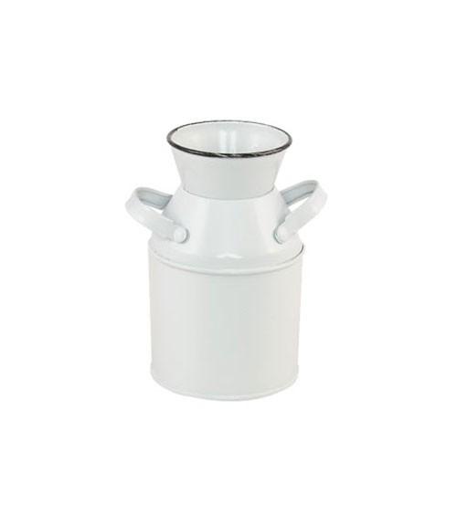 Deko-Milchkanne aus Metall - weiß, schwarz - 6 x 10 cm