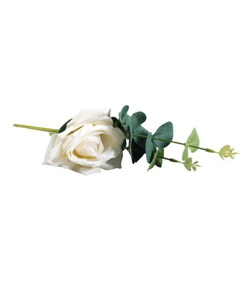Künstliche Rose mit Eukalyptus - weiß - 28 cm