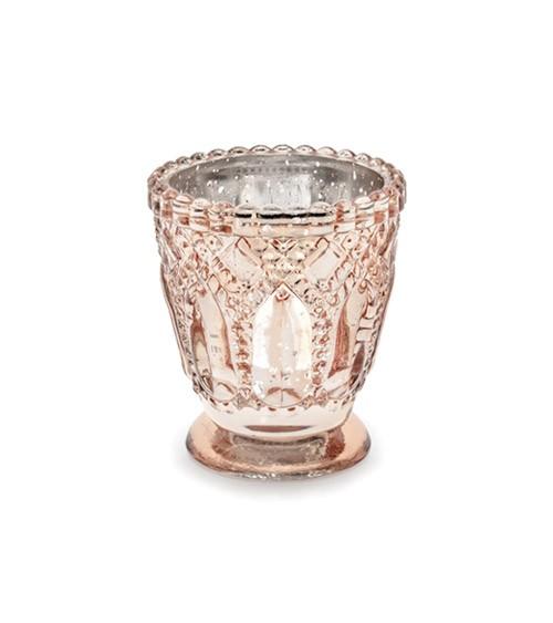 Vintage-Teelichthalter - rosegold - 8 cm - 4 Stück