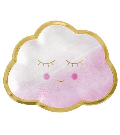 """Wolken-Pappteller """"Oh Baby Girl"""" - 8 Stück"""