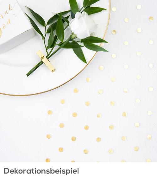"""Organza-Tischläufer """"Goldene Punkte"""" - 36 cm x 9 m"""