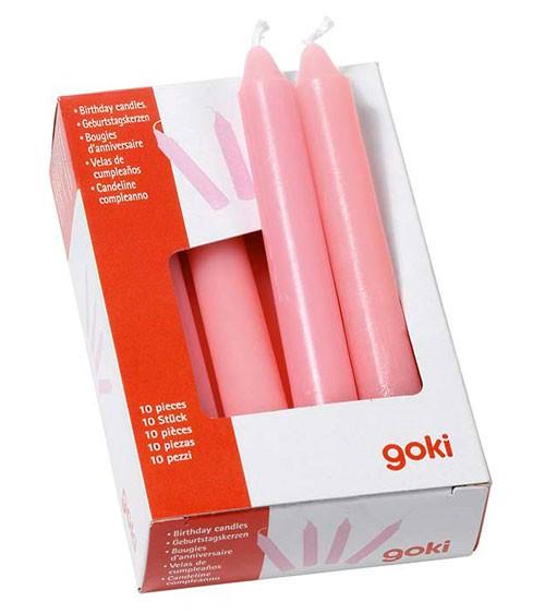 10 Geburtstagskerzen - rosa - 10 cm