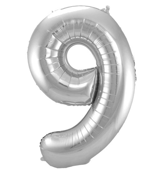 "SuperShape Folienballon ""9"" - silber"