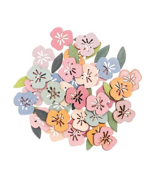 """Holzstreuteile """"Blüten & Blätter"""" - pastell - 48 Stück"""