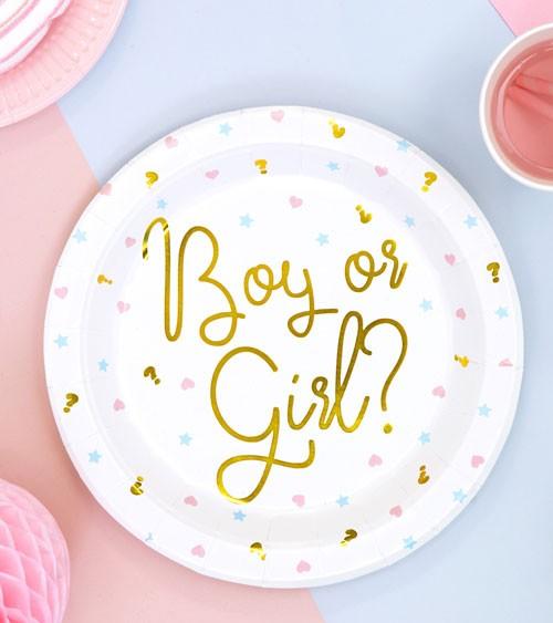 "Pappteller ""Boy or Girl"" mit Golddruck - 6 Stück"