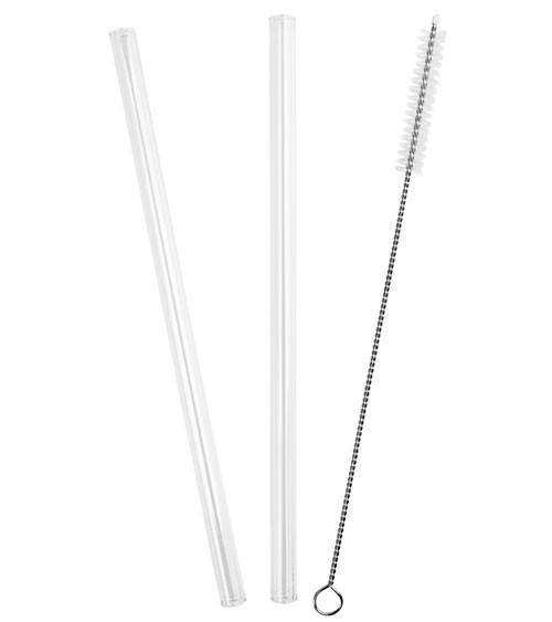 Glas-Trinkhalme mit Bürste - 20 cm - 4 Stück