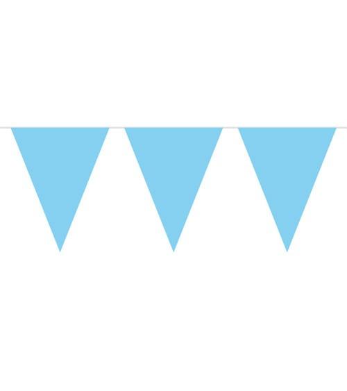 Wimpelgirlande aus Kunststoff - helllblau - 10m
