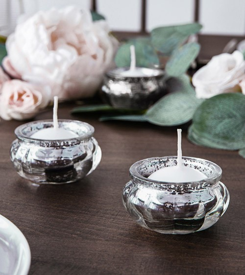 Shabby Chic Teelichthalter - silber - 3 cm - 4 Stück