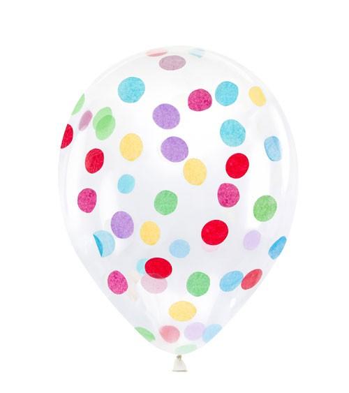 Transparente Ballons mit buntem Konfetti - 6 Stück