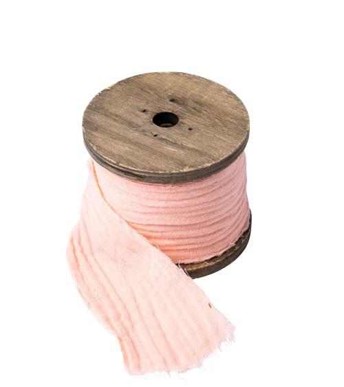 Dekoband aus Baumwollmull - rosa - 4,5 cm x 3 m