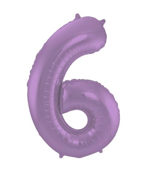 """Zahl-Folienballon """"6"""" - matt lila - 86 cm"""