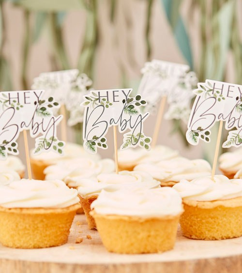 "Cupcake-Picks ""Botanical Baby Shower"" - 12 Stück"