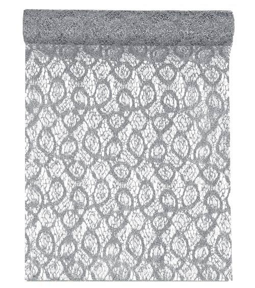 Spitzen-Tischläufer - metallic silber - 28 cm x 5 m