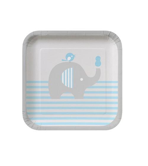 """Kleine Pappteller """"Kleiner Elefant - hellblau"""" - 8 Stück"""