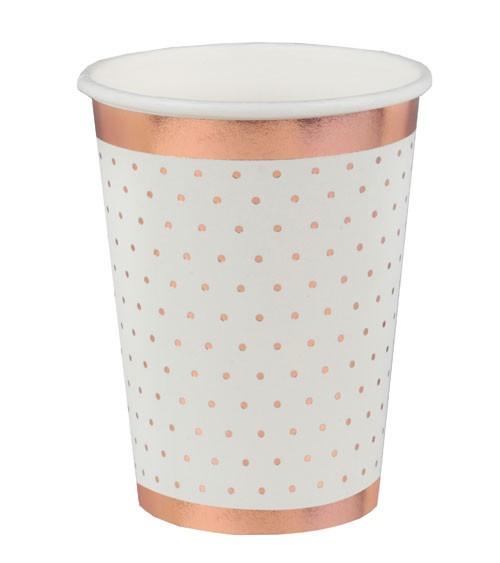 Pappbecher mit rosegoldenen Pünktchen - weiß - 10 Stück