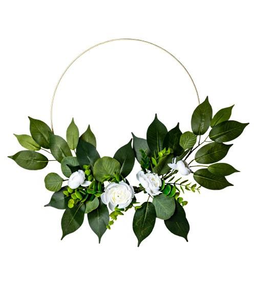 Floral Hoop mit Eukalyptus und weißen Rosen - 30 cm