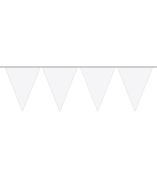 Mini-Wimpelgirlande aus Kunststoff - weiß - 3 m