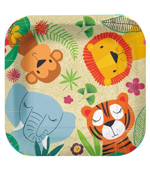 "Viereckige Pappteller ""Jungle Friends"" - 10 Stück"