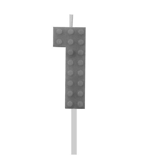 "Geburtstagskerze Zahl 1 ""Bausteine"" - sortiert - 5,5 cm"