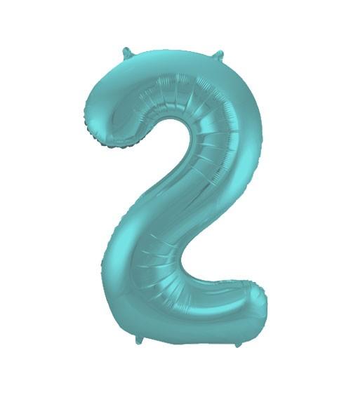 "Zahl-Folienballon ""2"" - matt pastel mint - 86 cm"