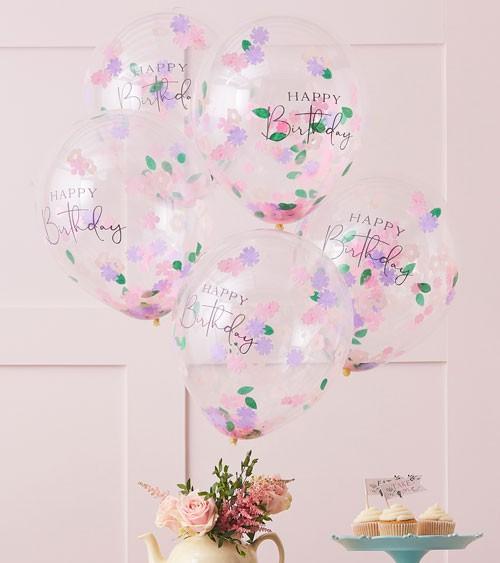 Transparente Ballons mit Blumen-Konfetti - Happy Birthday - 5 Stück
