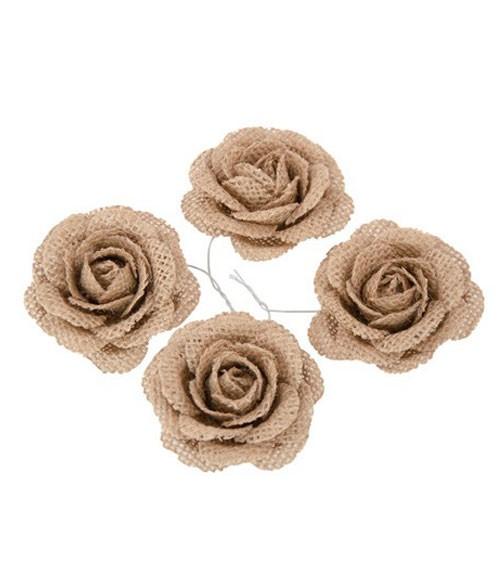 Rosenblüten aus Jute - 5,5 cm - 4 Stück