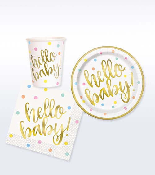 "Babyparty Deko-Set ""Hello Baby"" - gold - 32-teilig"