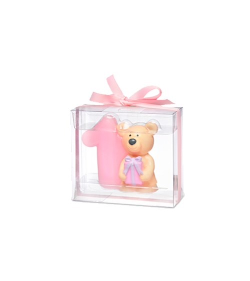 Kerze 1. Geburtstag mit Teddybär - rosa