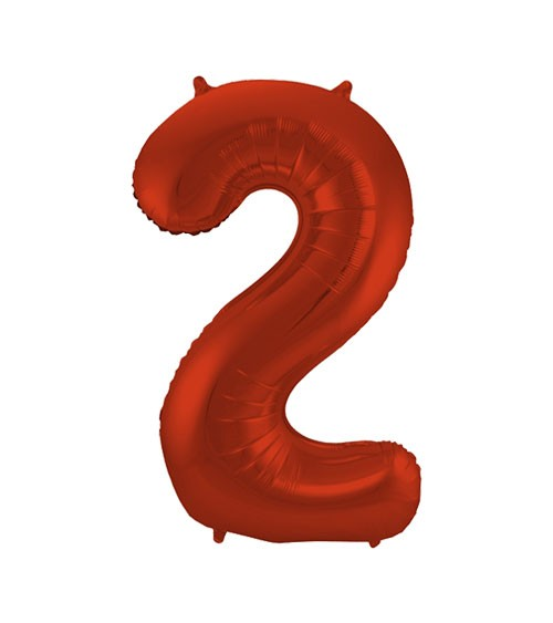 """Zahl-Folienballon """"2"""" - matt rot - 86 cm"""