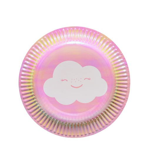 """Kleine Pappteller """"Wolke"""" - irisierend - 8 Stück"""