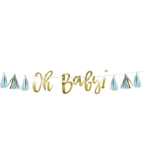 """""""Oh Baby""""-Girlande mit Tasseln - hellblau & gold - 1,5 m"""
