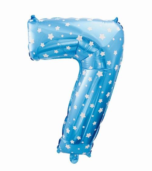 "Folienballon Zahl ""7"" - blau mit Sternen - 61 cm"
