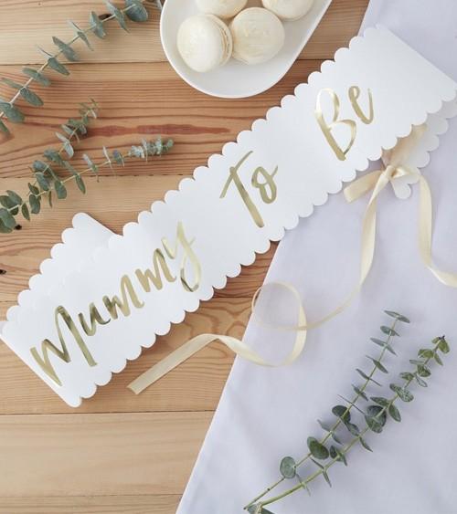 """Schärpe """"Mummy To Be"""" - weiß/gold"""