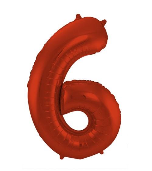 """Zahl-Folienballon """"6"""" - matt rot - 86 cm"""