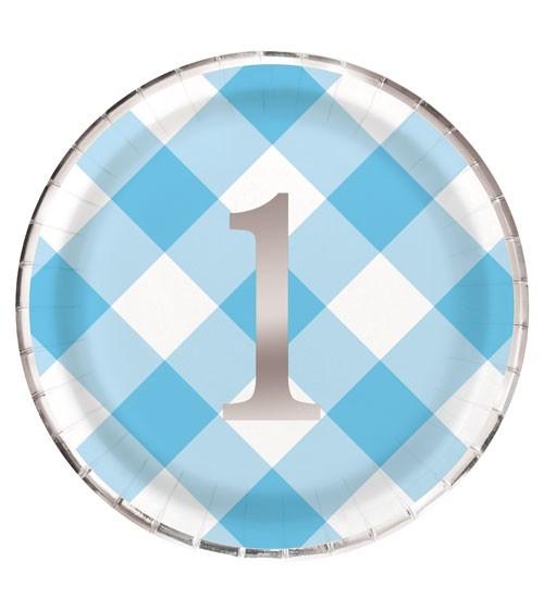 """Pappteller """"1. Geburtstag - Vichy Karo"""" - blau - 8 Stück"""