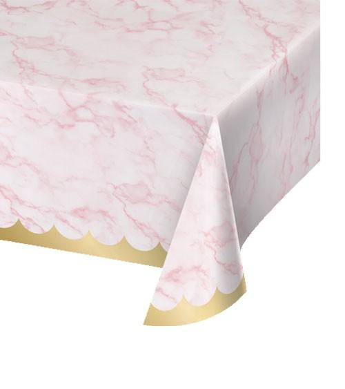 """Papier-Tischdecke """"Marble"""" - rosa & gold - 137 x 259 cm"""