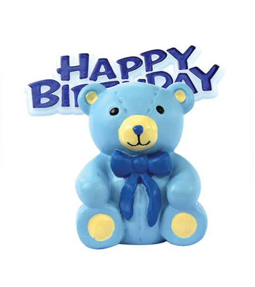 "Tortendekoration ""Teddybär"" Happy Birthday - hellblau - 2-teilig"