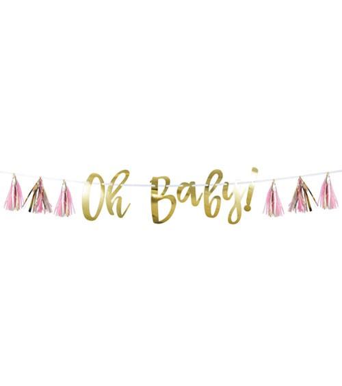 """""""Oh Baby""""-Girlande mit Tasseln - rosa & gold - 1,5 m"""
