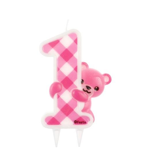 """Zahlenkerze mit Teddybär """"1. Geburtstag"""" - pink - 9,5 cm"""