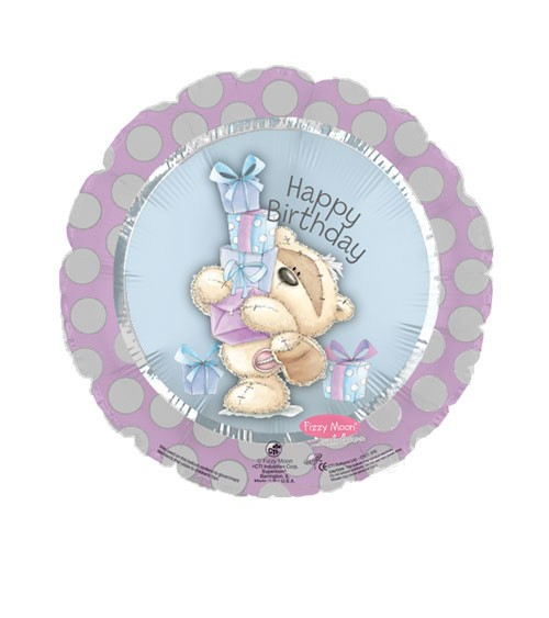 "Runder Folienballon ""Teddybär - Happy Birthday"""