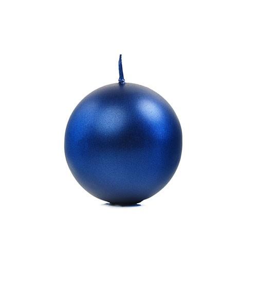 Kugelkerzen - navy blue metallic - 6 cm - 10 Stück