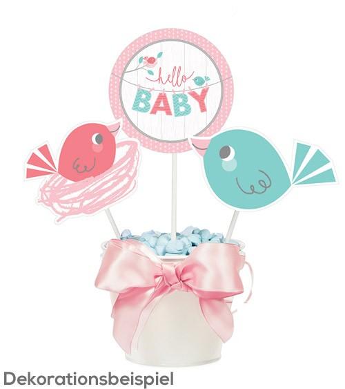 "Centerpiece-Sticks ""Hello Baby - rosa"" - 3 Stück"