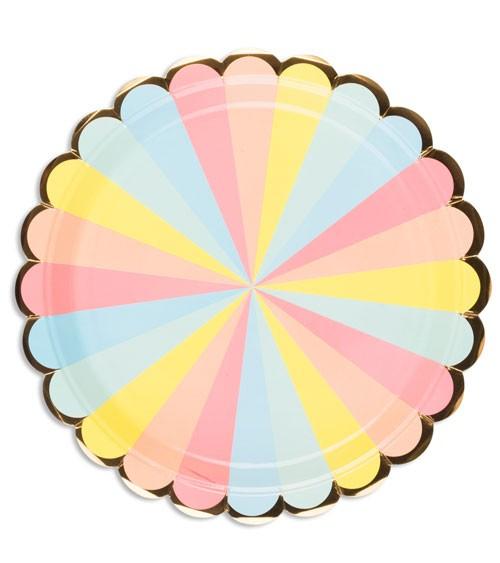 "Pappteller mit Goldrand ""Colour Wheel"" - 8 Stück"