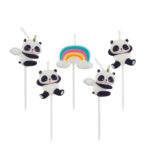 "Kuchenkerzen ""Dreamy Panda"" - 5 Stück"