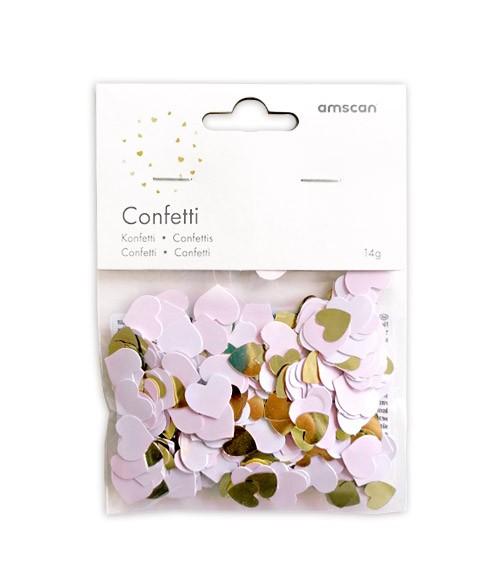 Konfetti-Herzen - rosa ombre & gold metallic - 14 g