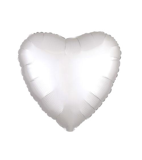 "Herz-Folienballon ""Satin Luxe"" - weiß - 43 cm"