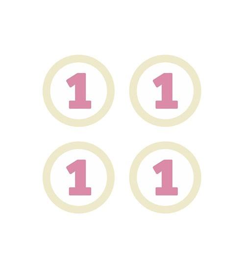 """Papierdekorationen """"1. Geburtstag"""" - pink/creme - 4 Stück"""